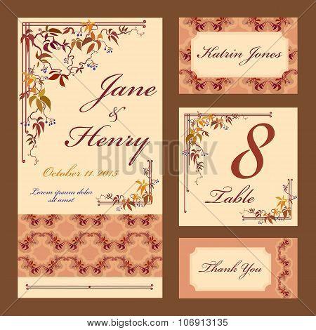 Grapevine Wedding card set. Printable Vector illustration.