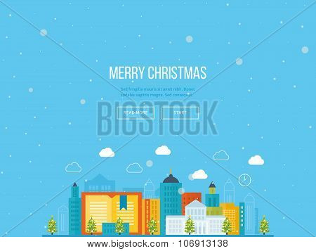 Merry Christmas greeting card design. Urban landscape.