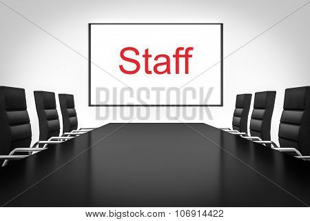 Large Empty Conference Room With Whiteboard Staff