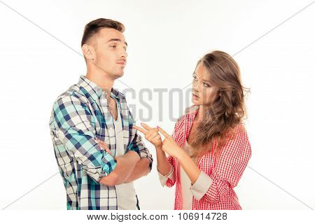 Disappointed Young Woman Explaining Smth To Her Boyfriend