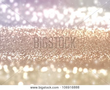 Christmas glittery background with stars and bokeh lights