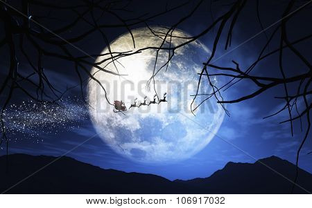 3D Christmas image of Santa and his reindeer flying through a moonlit sky