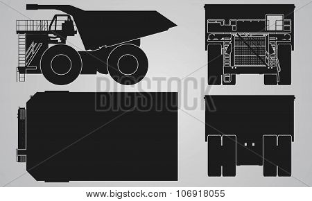Front, back, top and side truck with load trailer projection
