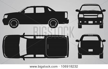Front, back, top and side pickup truck projection