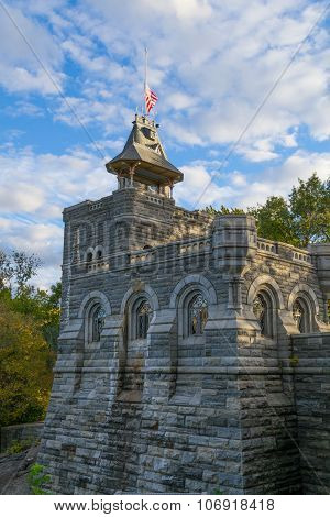 Belvedere Castle Under A Cloudy Bloue Sky