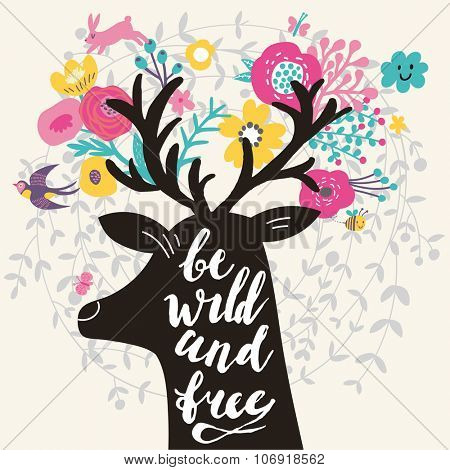 Be wild and free. Incredible deer silhouette with awesome horns made of flowers, swallow, rabbit, cloud and butterfly. Lovely inspiration concept design in vector. Sweet deer and wreath made of leafs