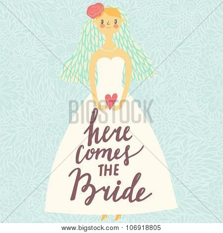 Here comes the Bride - lovely save the date card in vector. Sweet bride in pastel colors with concept text