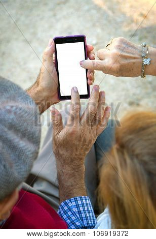 Hand Senior Man An Woman Using Cell Phone