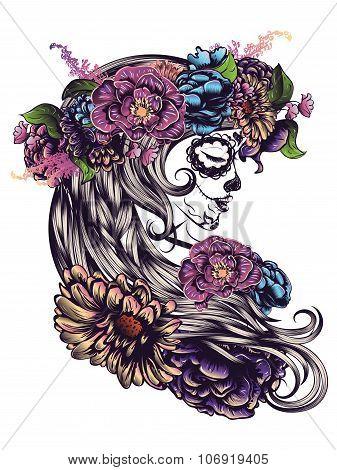 Sugar Skull Girl In Flower Crown