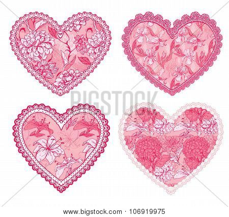 Set Of 4 Pink Fine Lace Hearts With Floral Pattern. Design Elements For Wedding Or Valentines Day Ca