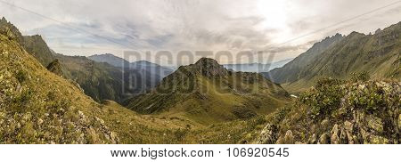 Panorama of a mountain valley in Abkhazia