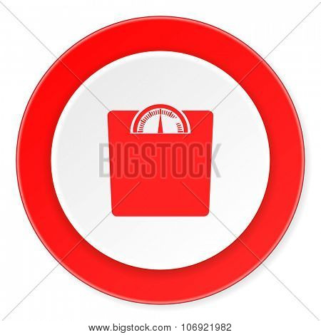 weight red circle 3d modern design flat icon on white background