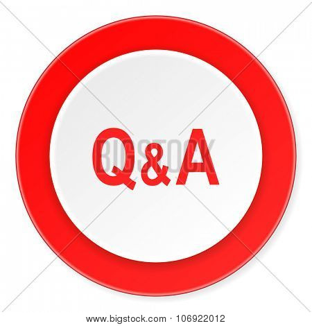 question answer red circle 3d modern design flat icon on white background