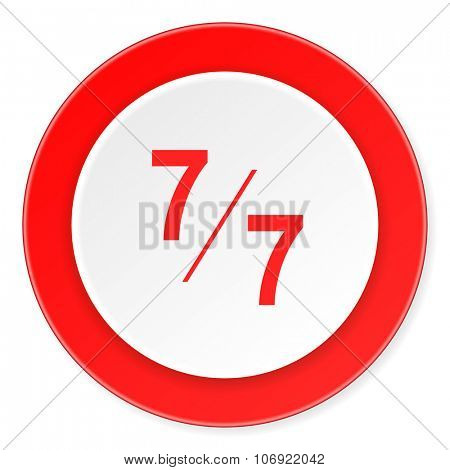 7 per 7 red circle 3d modern design flat icon on white background