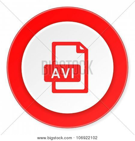 avi file red circle 3d modern design flat icon on white background