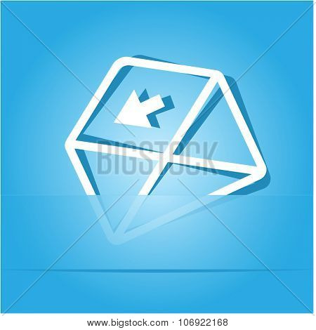 mail left arrow. Paper sticker. Raster illustration.