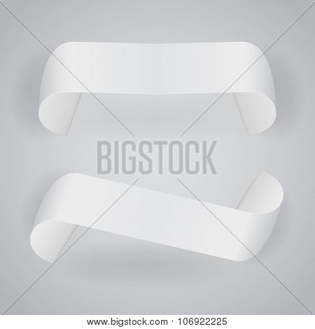 Blank white paper rolled labels vector template.