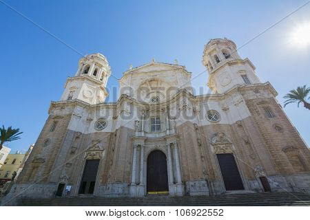 Main Facade Of The Cathedral City Of Cadiz, Spain