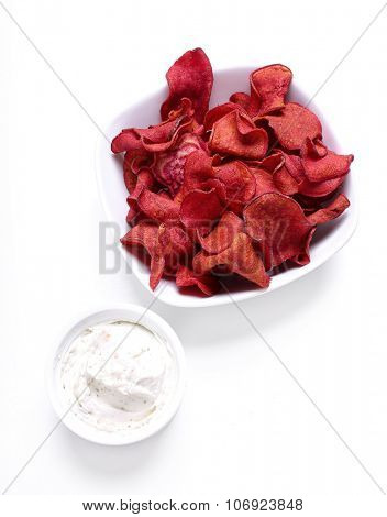 Natural red chips in a bowl
