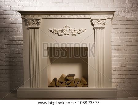 Luxurious Interior With Decorative Fireplace