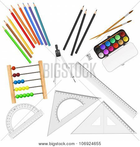 Assortment Of School Supplies Isolated On White Background