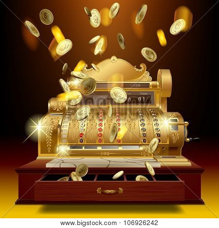 Vintage cash register and a gold money rain. Business and finance metaphor
