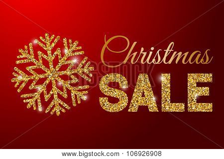 Luxury inscription Christmas sale with golden glitter texture and gold snowflake on red background. Vector illustration.