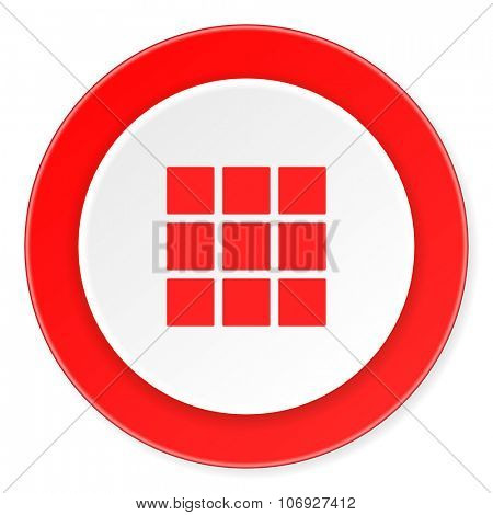 thumbnails grid red circle 3d modern design flat icon on white background