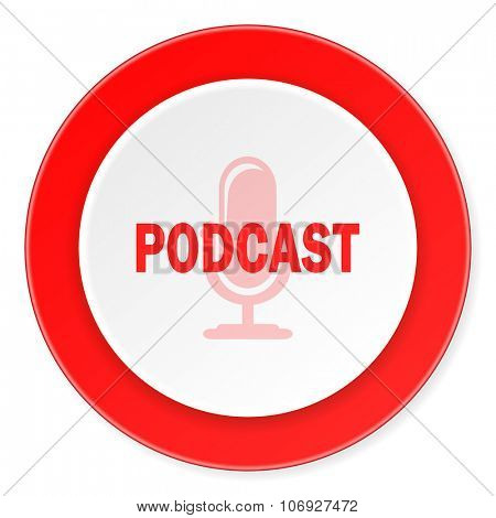 podcast red circle 3d modern design flat icon on white background