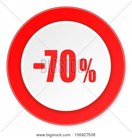 70 percent sale retail red circle 3d modern design flat icon on white background