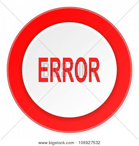error red circle 3d modern design flat icon on white background
