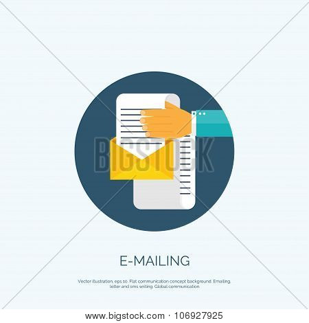 Vector illustration. Flat bacground with hand and letter. Emailing concept background. Spam and sms