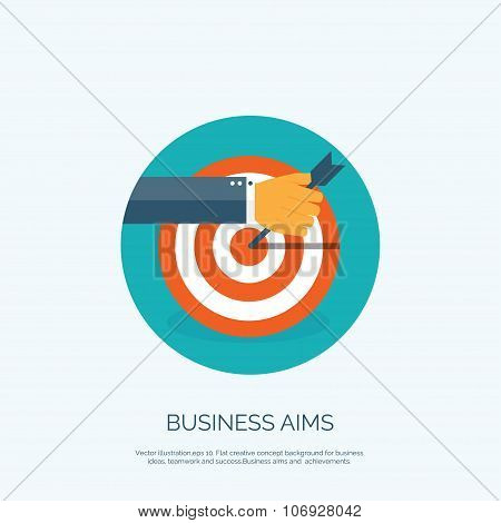 Vector illustration. Flat background with target and hand. Business aims and company strategy. Teamw