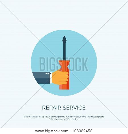 Vector illustration. Flat background with hand and wrench. Repair tools. Settings.