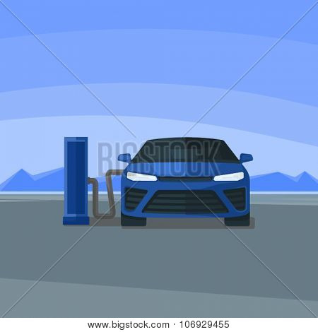 Car Hydrogen Station Vector