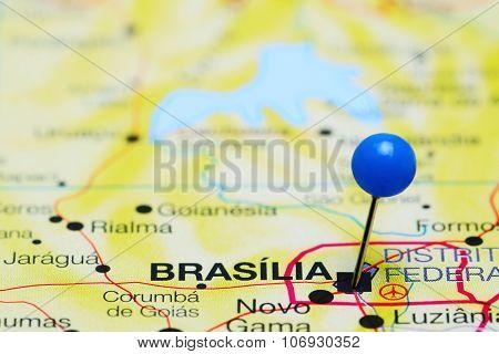 Brasilia pinned on a map of Brazil