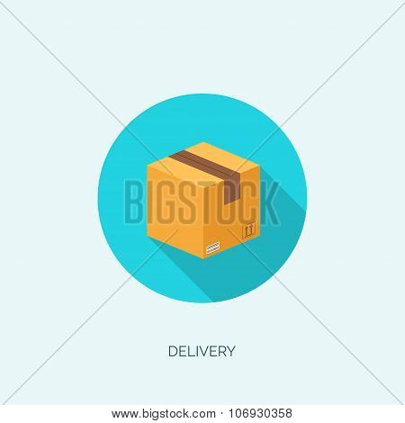 Vector illustration. Flat carton box. Transport and packaging. Post service and online delivery.