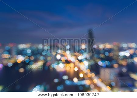 Nigh city light blurred bokeh background