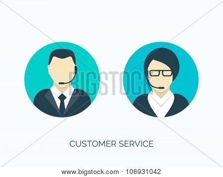 Vector illustration. Flat customer service avatars. Communication and online support.