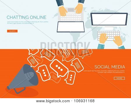 Vector illustration. Flat backgrounds set.  Social media, chatting. Global communication. Laptop, co
