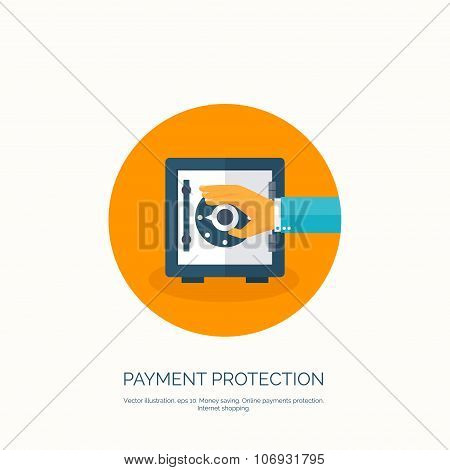 Vector illustration. Flat background with hand and bank deposit. Save money. Online shopping.  Money