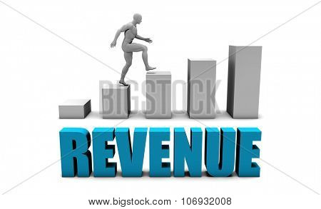 Revenue 3D Concept  in Blue with Bar Chart Graph