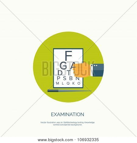 Vector illustration. Flat background with hand and ophthalmic equipment. Ophthalmology  and eye care