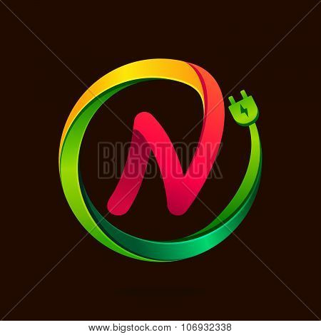 N Letter With Wire Plug Icon.