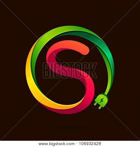 S Letter With Wire Plug Icon.