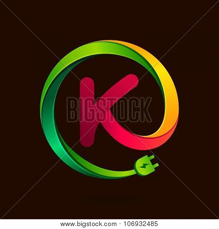 K Letter With Wire Plug Icon.