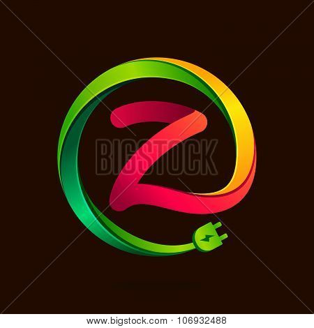 Z Letter With Wire Plug Icon.