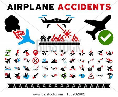 Aircraft Accidents Glyph Icons