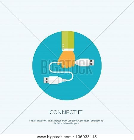 Vector illustration. Flat background with hand and usb cable. Connection. Internet and global commun