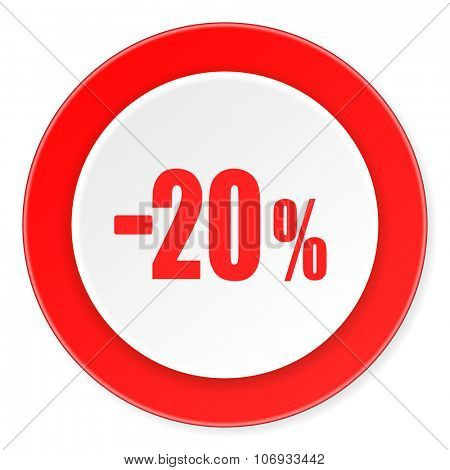 20 percent sale retail red circle 3d modern design flat icon on white background